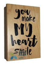"You Make My Heart Smile Rubber Stamp New Magenta Wood Mounted 3"" High 2""... - $8.90"