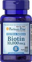Puritans Pride Biotin 10000 Mcg Softgels, 100 Count image 3