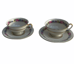 Vintage Castleton Manor Fine China Floral Dresden School 2 Cups Saucers ... - $23.05