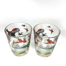 2 Hazel Atlas Pheasant Drinking Glasses Mid Century Barware Bare Ware Kitch - $19.34