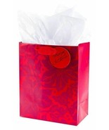 Christmas Gift Bag Hallmark Holiday Medium Gift Bag With Tissue Paper Red - $2.94