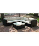CC Outdoor Living Black Wicker Outdoor Furniture Sectional Set - Beige C... - $1,290.70