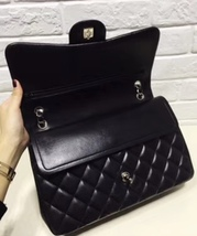 100% Authentic Chanel BLACK QUILTED LAMBSKIN JUMBO CLASSIC DOUBLE FLAP BAG SHW image 5