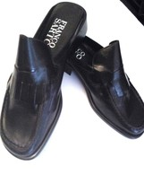 Franco Sarto Barlow Black Patent Leather Loafers Mules Women's 8 Slides Flats - $33.43