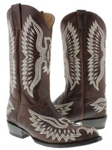 Brown Stitched Embroidered Leather Cowboy Boots Western Rodeo Classic - £80.79 GBP