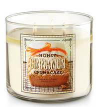 Bath & Body Works Honey Cinnamon Crumb Cake 3 Wick 14.5 Ounces Scented C... - $22.49