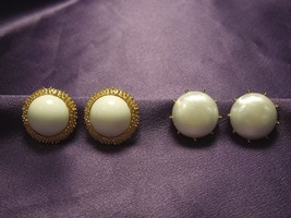 2 Faux pearl And Gold Tone Trifari Clip On Earrings - $34.65