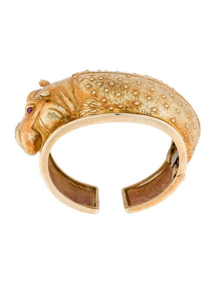 Primary image for David Webb 18k Yellow Gold Hippo Cuff Bangle Bracelet