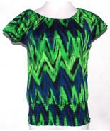 Michael Kors Womens XS Top Geometric Abstract Cap Sleeve Chevron Striped - $24.99