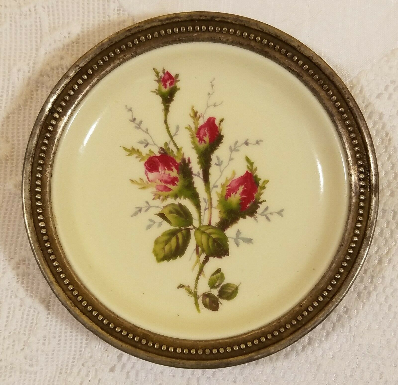 Primary image for Rosenthal Moss Rose Bahnhof Selb Germany Porcelain Plate with Sterling Trim 4""