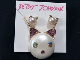 Betsey Johnson Crystal Pearl faux Cat Kitty stud Earrings & necklace set - $33.66