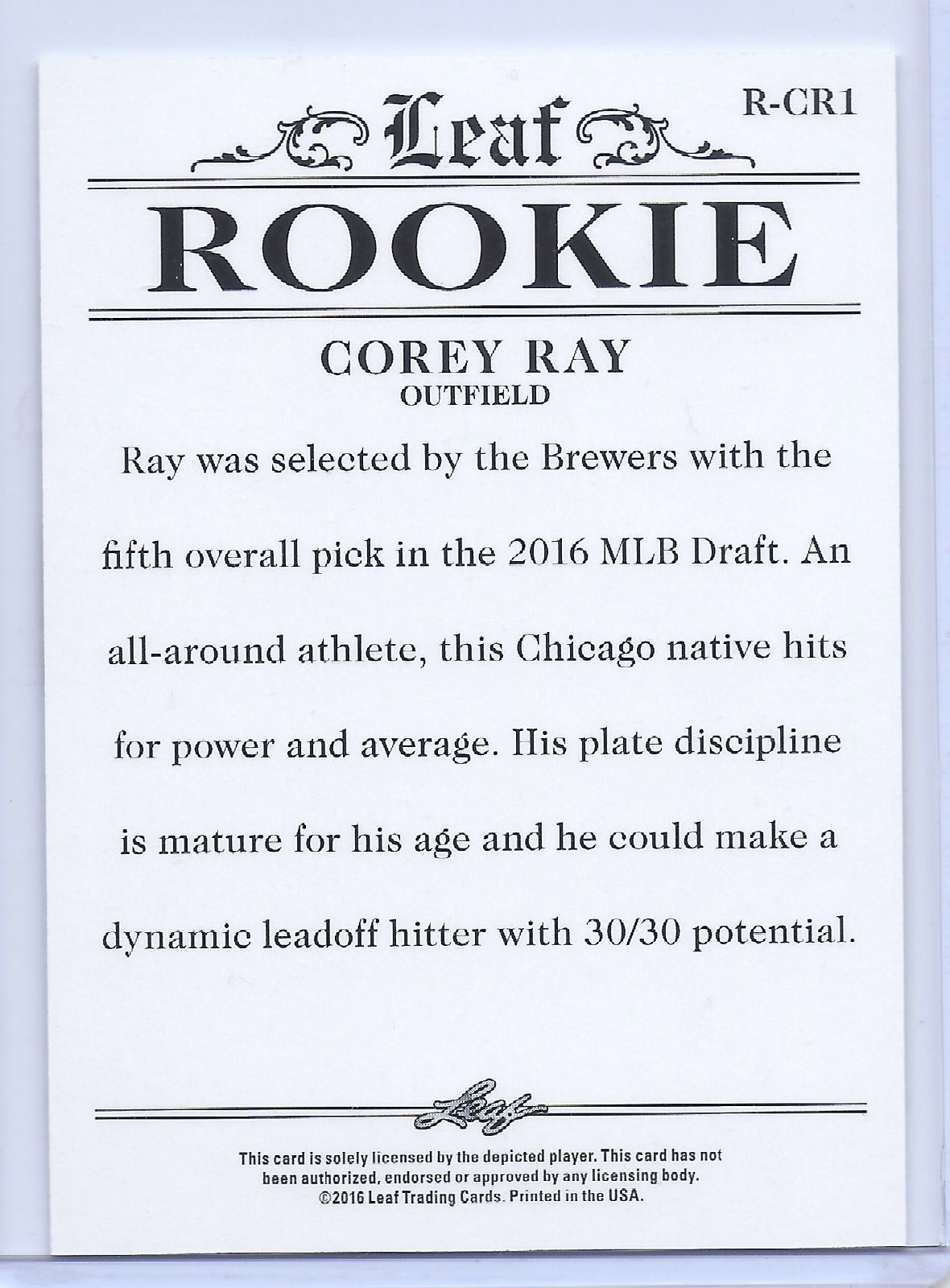 COREY RAY 2016 LEAF ROOKIES EXCLUSIVE ROOKIE CARD #R-CR1! MILWAUKEE BREWERS!