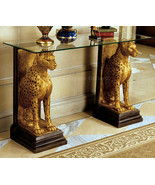 "Egyptian Pharaoh Cheetahs Sculpture Furniture Console with Glass top 55"" - $692.01"