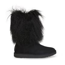 UGG LIDA BLACK SUEDE SHEEPSKIN MONGOLIAN CUFF WOMENS BOOTS SIZE US 7/UK ... - $258.99