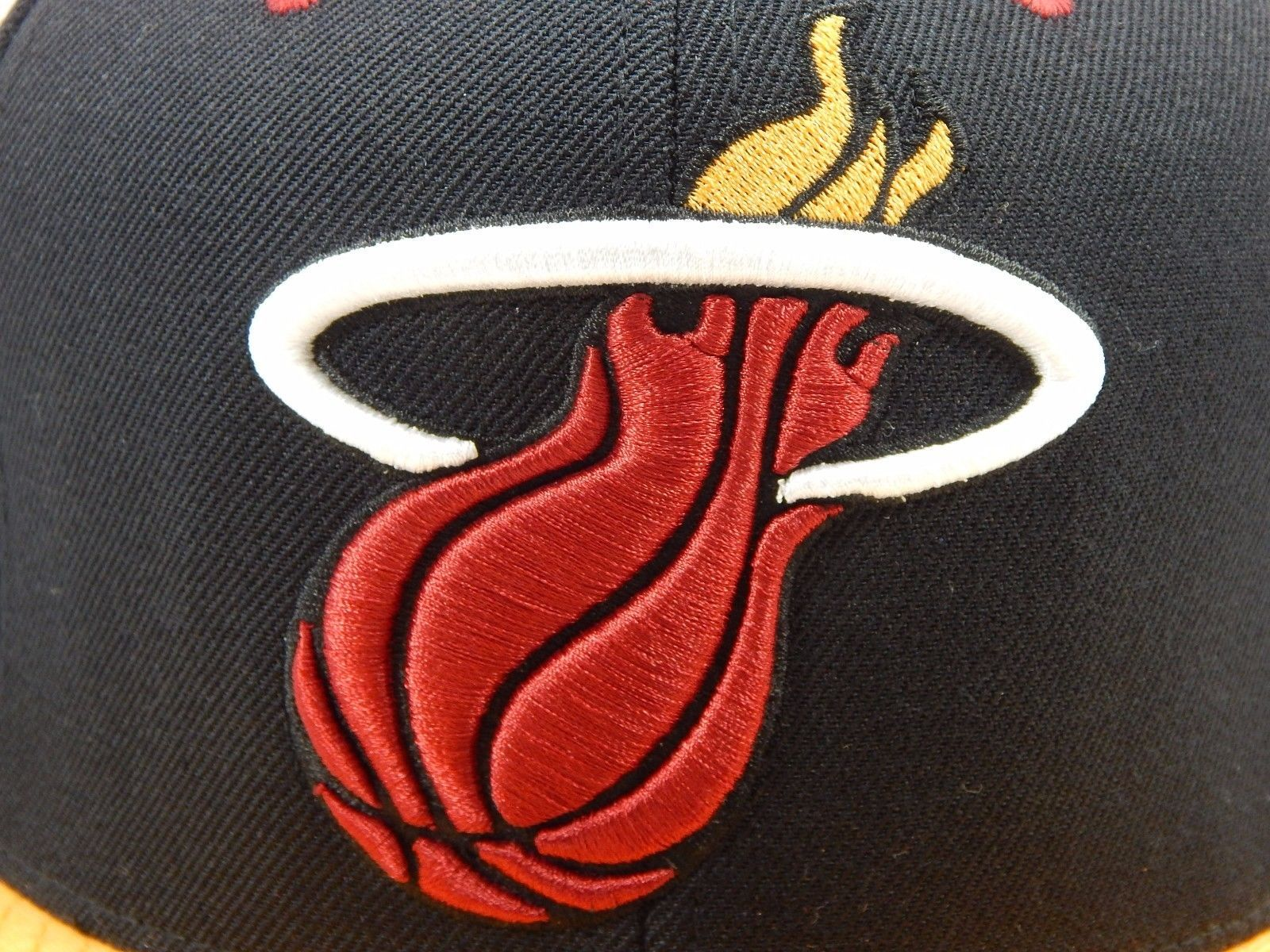 Miami Heat Mitchell & Ness Size 7 Crown Fitted NBA Cap Hat Black Red Gold