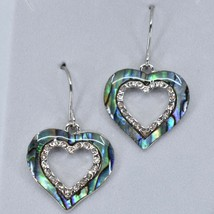 A.T. Storrs Wild Pearle Abalone Shell Sparkling Hearts Love Hook Earrings image 2