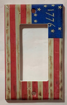 Betsy Ross star 1776 US Flag Wooden Light Switch Duplex Outlet wall Cover Plate  image 3