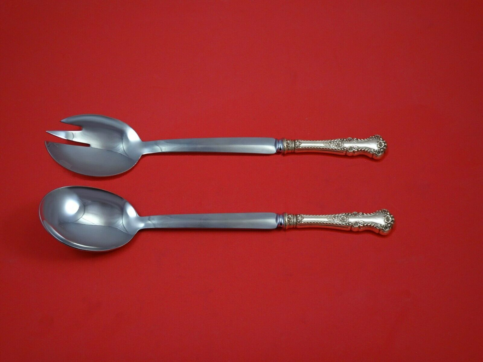 Primary image for Camellia by Gorham Sterling Silver Salad Serving Set 2pc Modern Custom 10 1/2""