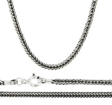 "16"" - 30"" 3mm 925 Sterling Silver Snake Bali Braid Black Oxidize Chain N... - $77.42+"