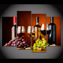 4 Pcs Grape Wine Alcohol Glasses Wall Picture Home Decor Printed Canvas ... - $39.99+