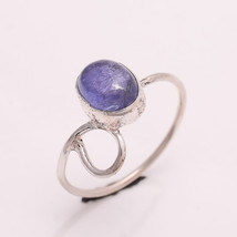 NATURAL TANZANITE 6*8 MM OVAL 925 STERLING SILVER 5.5 US RING - £12.21 GBP