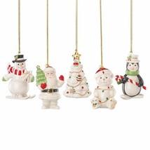 Lenox Merry Christmas Ornament Set of 5 Penguin Snowman Santa Tree Bear NEW - $39.50