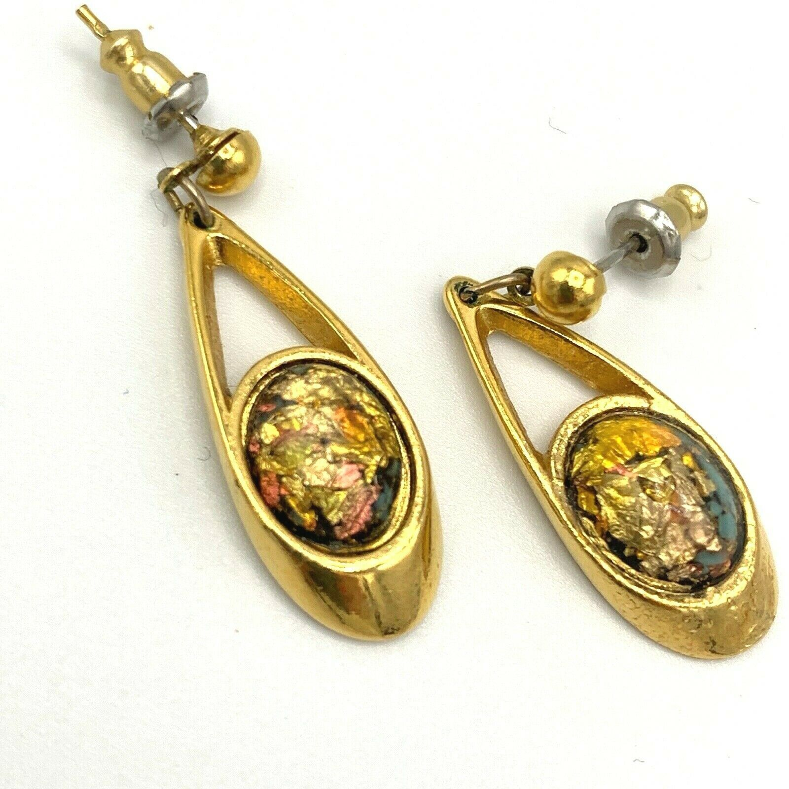 Primary image for Vtg MID-CENTURY Modern Earrings Gold Tone Dangle Posts Nugget Faux Opal Signed