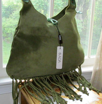 ADA COLLECTION GREEN SUEDE FRINGE HOBO CHICK BAG NWT $360+ - $259.00