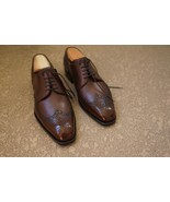 Classic Brown Wingtip Brogue Leather Lace Up Party Wear Shoes - $158.99