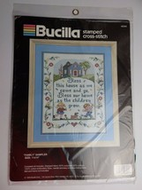 """1990 Stamped FAMILY Sampler 11"""" x 14"""" by BUCILLA  #40395 - $11.88"""