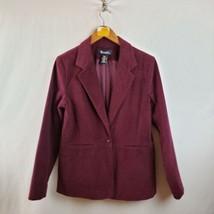 Denim & Co. Corduroy One Button Jacket Womens Sz Small Long Sleeve Purple - $19.55