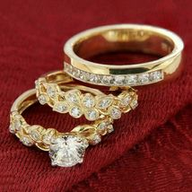 Diamond Wedding 14K Yellow Gold Over Trio His And Her Bridal Engagement ... - $137.75