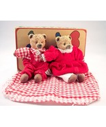 Vintage Valentine Belle Coeur Bears Brown Bears With Red Clothes - $10.00