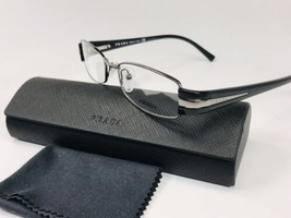 New PRADA VPR 51H 5AV-1O1 Silver & Black Eyeglasses 50mm with Case - $103.90