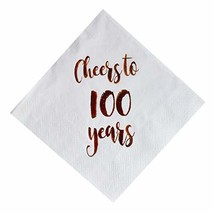 Cheers to 100 Years Cocktail Napkins, 50-Pack 3ply White Rose Gold 100th Birthda - $19.24