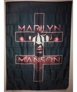 Marilyn Manson Double Cross Cloth Poster Flag Fabric Tapestry Wall Banne... - $12.81