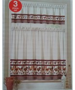 ROOSTER CURTAIN SET Two Tier and Valance French Country Kitchen Houndsto... - $16.99