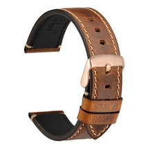 WOCCI Watch Band With Rose Gold Buckle Comfy Leather Strap 18mm 20mm 22m... - $20.99
