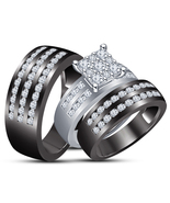 10k Gold Plated 925 Silver Round Cut CZ Matching Band Engagement Ring Tr... - $156.77