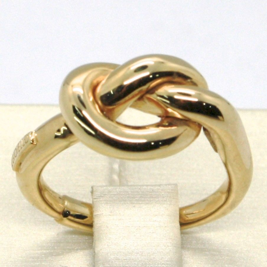 18K YELLOW GOLD INFINITE CENTRAL RING, INFINITY, BRAIDED, KNOT, MADE IN ITALY