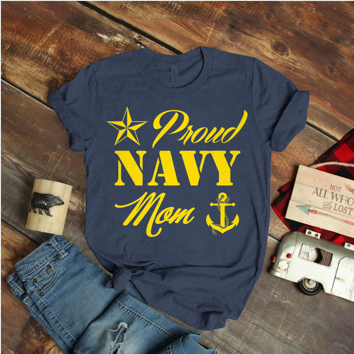 Womens Proud Navy Mom With Star And Anchor Ideas Birthday Gift Vintage Funny
