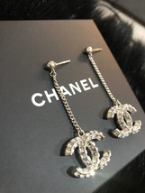 SALE* AUTH CHANEL 2019 LARGE CC LOGO Crystal Dangle Drop SILVER Earrings image 9