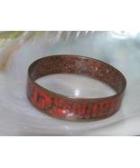 Vintage Midcentury Red Enamel Swirl MODERNIST Solid Copper Geometric Ban... - $37.29