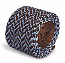Frederick Thomas Knitted Skinny Chocolate Brown and Blue Herringbone Tie FT3294