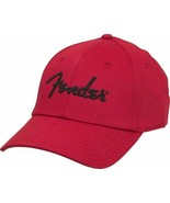 Genuine Fender Logo Red Stretch Cap Ballcap Hat... - $14.99