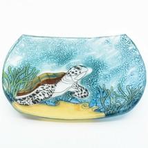 Fused Art Glass Sea Turtle Ocean Nautical Soap Dish Handmade in Ecuador