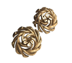 60s Vintage TRIFARI Signed Brushed Gold Tone Metal Swirl Chunky Clip On ... - $32.00