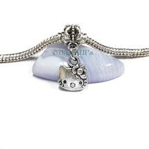 Cute Silver Tone 'hello kitty' Face Slide Clip Dangle Charm fits Euro Br... - $6.18