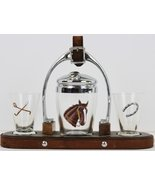 Stirrup Cocktail Horsehead Shaker & Pair of Shot Glasses Tray - $450.00