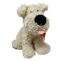 "Hallmark Plush Beige Curly Puppy Dog 7"" Red Heart Paws & Bow Stuffed Ani... - $9.49"